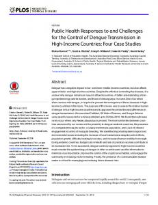 Public Health Responses to and Challengesfor the Control of Dengue ...
