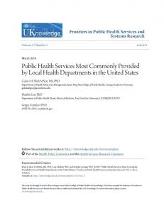 Public Health Services Most Commonly Provided by Local ... - CiteSeerX
