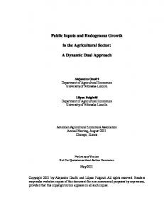 Public Inputs and Endogenous Growth in the ... - AgEcon Search