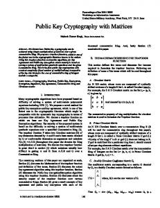 Public Key Cryptography with Matrices - IEEE Xplore