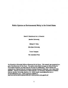 Public Opinion and Environmental Policy in the United States