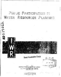 Public Participation in Water Resources Planning - DTIC