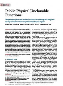 Public Physical Unclonable Functions - IEEE Xplore