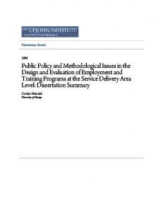 Public Policy and Methodological Issues in the ... - Upjohn Research