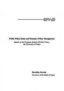 Public Policy Study and Monetary Policy Management