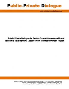 Public-Private Dialogue for Sector Competitiveness and Local ...