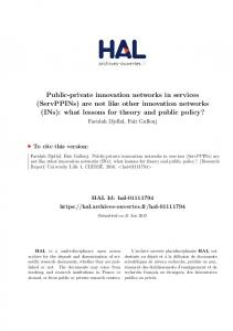 Public-private innovation networks in services - Hal