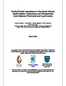 Public-Private Interactions in the South African Health Sector ...