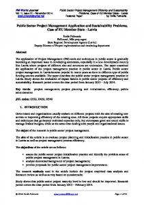 Public Sector Project Management Application and ... - PM World Library