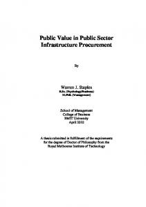 Public Value in Public Sector Infrastructure Procurement