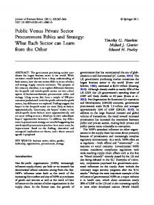 Public Versus Private Sector Procurement Ethics and ... - Springer Link