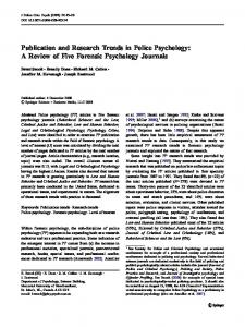 Publication and Research Trends in Police Psychology - Springer Link