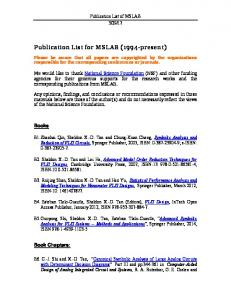 Publication List for MSLAB (1994-present)