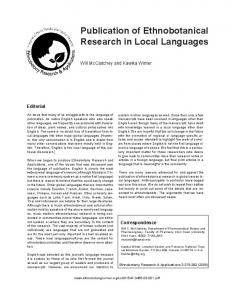 Publication of Ethnobotanical Research in Local Languages