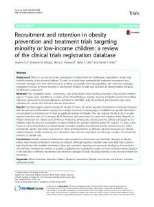 Publication (PDF): Recruitment and retention in obesity prevention ...