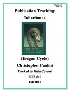 Publication Tracking: Inheritance (Eragon Cycle) Christopher Paolini