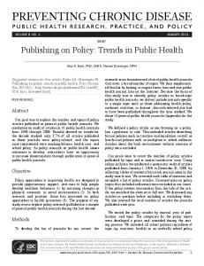 Publishing on Policy: Trends in Public Health