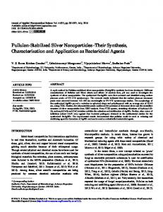 Pullulan-Stabilized Silver Nanoparticles -Their Synthesis ...