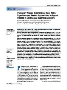 Pulmonary Arterial Hypertension: Many Years' Experience and ...