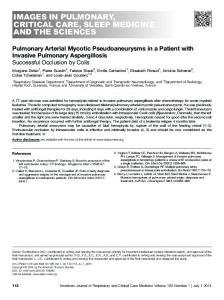 Pulmonary Arterial Mycotic Pseudoaneurysms in a ... - ATS Journals