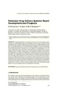 Pulmonary Drug Delivery Systems: Recent ... - Begell House