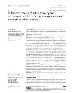 Pulmonary effects of active smoking and secondhand smoke exposure ...