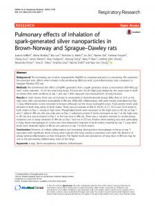Pulmonary effects of inhalation of spark-generated silver nanoparticles ...