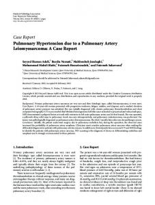Pulmonary Hypertension due to a Pulmonary Artery Leiomyosarcoma ...