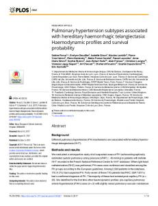 Pulmonary hypertension subtypes associated with hereditary ... - PLOS