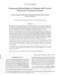 Pulmonary Rehabilitation in Patients with Chronic Obstructive ...