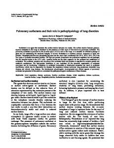 Pulmonary surfactants and their role in pathophysiology of ... - NOPR