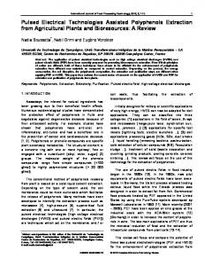Pulsed Electrical Technologies Assisted Polyphenols Extraction from ...