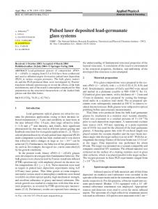 Pulsed laser deposited lead-germanate glass systems