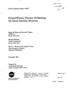 Pulsed Plasma Thruster Technology for Small Satellite Missions