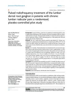 Pulsed radiofrequency treatment of the lumbar dorsal root ganglion in ...