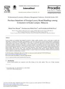 Purchase Intentions of Foreign Luxury Brand ... - ScienceDirect