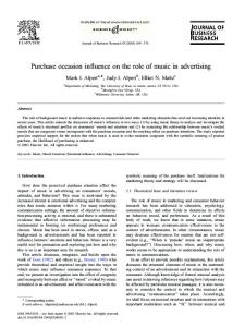 Purchase occasion influence on the role of music in advertising