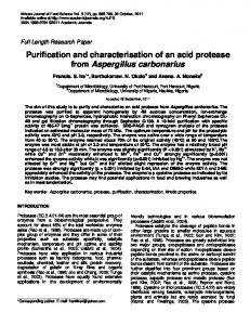 Purification and characterisation of an acid protease