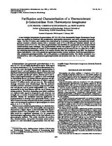 Purification and Characterization of a Thermotolerant -Galactosidase ...