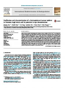 Purification and characterization of a thermotolerant ...