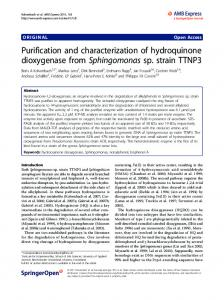 Purification and characterization of hydroquinone dioxygenase from ...