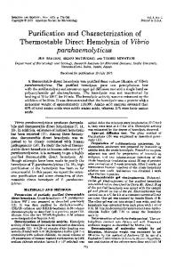 Purification and Characterization of parahaemolyticus - Infection and ...