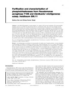 Purification and characterization of phosphotriesterases from ...