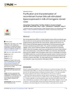 Purification and characterization of recombinant human bile ... - PLOS