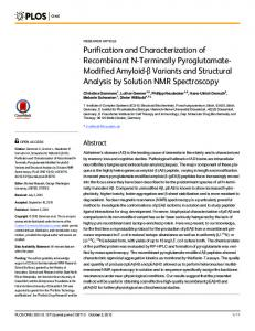 Purification and Characterization of Recombinant N-Terminally ... - PLOShttps://www.researchgate.net/.../Purification-and-Characterization-of-Recombinant-N-...