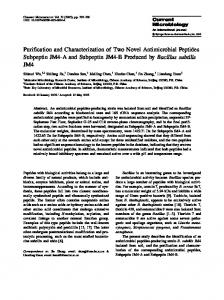 Purification and Characterization of Two Novel Antimicrobial Peptides ...