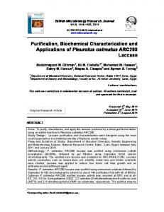 Purification, Biochemical Characterization and