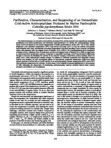 Purification, Characterization, and Sequencing of an Extracellular ...