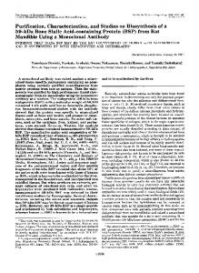 Purification, Characterization, and Studies on Biosynthesis of a 59 ...