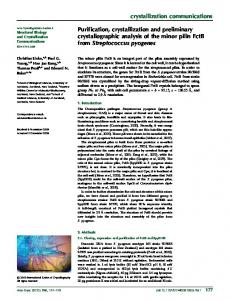 Purification, crystallization and preliminary ... - IUCr Journals
